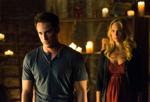 Michael Trevino as Tyler/Klaus and Candice Accola as Caroline on THE VAMPIRE DIARIES