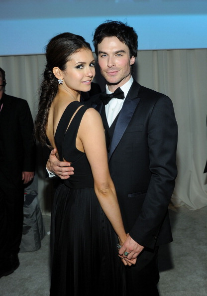 BEVERLY HILLS, CA - FEBRUARY 26:  Actors Nina Dobrev and Ian Somerhalder attend the 20th Annual Elton John AIDS Foundation Academy Awards Viewing Party at The City of West Hollywood Park on February 26, 2012 in Beverly Hills, California.  (Photo by Larry Busacca/Getty Images for EJAF)