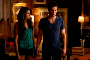 "The Vampire Diaries -- ""Handle with Care"" --Pictured (L-R): Nina Dobrev as Elena and Ian Somerhalder as Damon -- Photo: Annette Brown/The CW -- © 2013 The CW Network, LLC. All rights reserved"