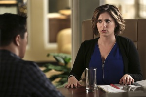 """Crazy Ex-Girlfriend -- """"Josh and I Work On A Case!"""" -- Image Number: CEG112a_0425.jpg -- Pictured (L-R): Vincent Rodriguez III as Josh (back to camera) and Rachel Bloom as Rebecca -- Photo: Scott Everett White/The CW -- © 2016 The CW Network, LLC. All rights reserved."""