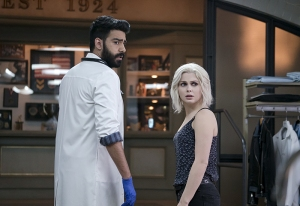 "iZombie -- Image Number: ZMB216a_0029.jpg -- ""Pour Some Sugar, Zombie"" -- Pictured (L-R): Rahul Kohli as Ravi and Rose McIver as Liv -- Photo: Katie Yu/The CW -- © 2016 The CW Network, LLC. All rights reserved."