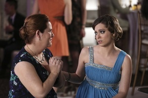 """Crazy Ex-Girlfriend -- """"Paula Needs to Get Over Josh!"""" -- Image Number: CEG118a_0118.jpg -- Pictured (L-R): Donna Lynne Champlin as Paula and Rachel Bloom as Rebecca -- Photo: Scott Everett White/The CW -- © 2016 The CW Network, LLC. All rights reserved."""