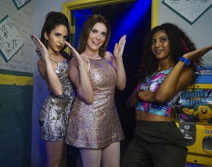 """Crazy Ex Girlfriend -- """"Who Needs Josh When You Have a Girl Group?"""" -- Image Number: CEG206a_00157833b.jpg -- Pictured (L-R): Gabrielle Ruiz as Valencia, Rachel Bloom as Rebecca and Vella Lovell as Heather -- Photo: Richard Cartwright/The CW -- ©2016 The CW Network, LLC All Rights Reserved."""