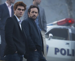 "Riverdale -- ""Pilot"" -- Image Number: RVD101b_0376.jpg -- Pictured (L-R): KJ Apa as Archie and Luke Perry as Fred -- Photo: Diyah Pera/The CW -- © 2016 The CW Network. All Rights Reserved."