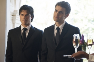"The Vampire Diaries -- ""The Simple Intimacy of the Near Touch"" --Image Number: VD809b_0104b.jpg -- Pictured (L-R): an Somerhalder as Damon and Paul Wesley as Stefan -- Photo: Annette Brown/The CW -- © 2016 The CW Network, LLC. All rights reserved."