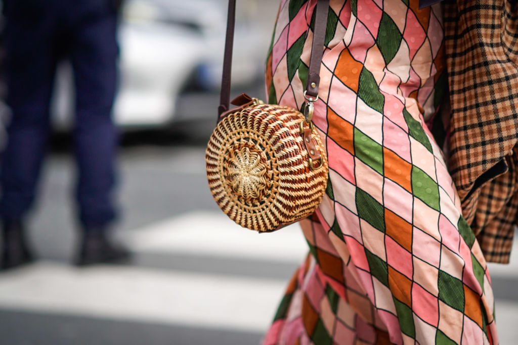 circle woven bag for spring - Street Style -Paris Fashion Week -Haute Couture Spring/Summer 2018 -